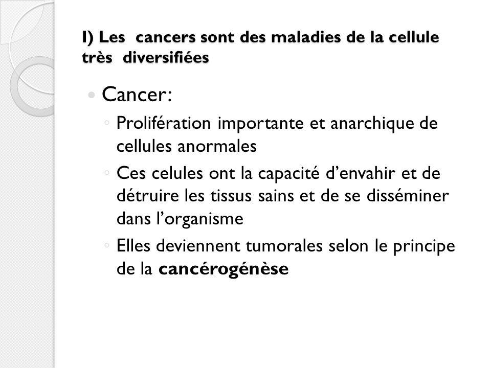 I) Les cancers sont des maladies de la cellule très diversifiées