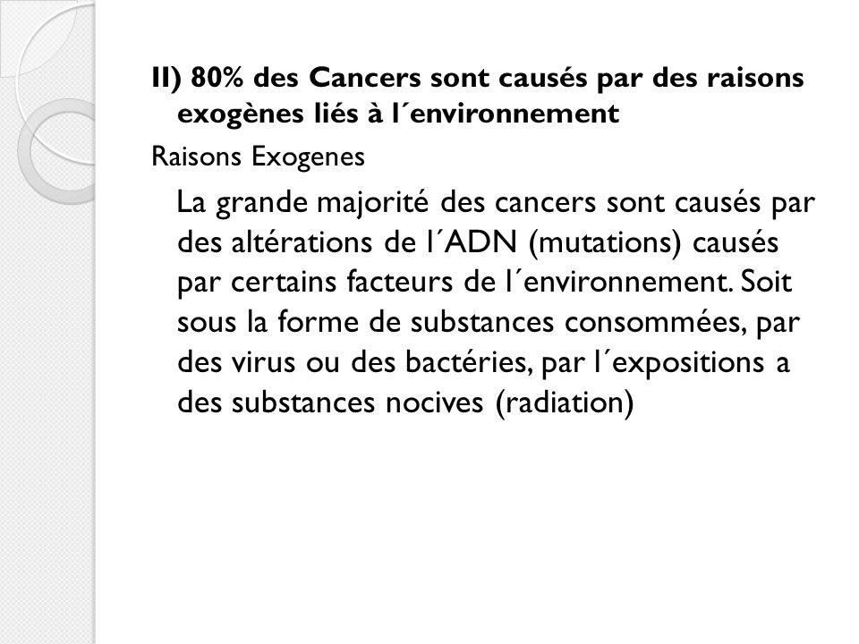 II) 80% des Cancers sont causés par des raisons exogènes liés à l´environnement Raisons Exogenes La grande majorité des cancers sont causés par des altérations de l´ADN (mutations) causés par certains facteurs de l´environnement.