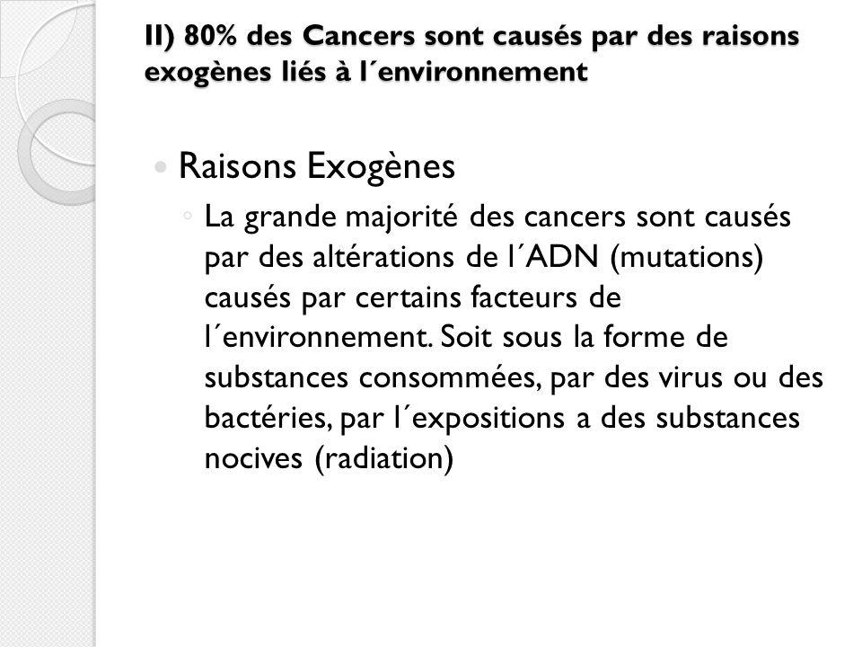II) 80% des Cancers sont causés par des raisons exogènes liés à l´environnement