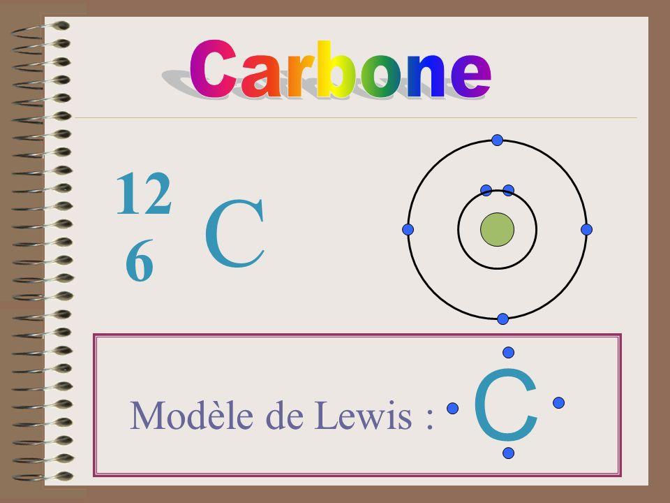 Carbone 12 C 6 C Modèle de Lewis :
