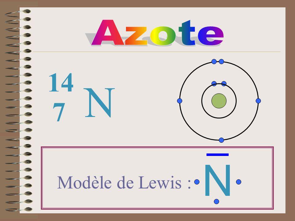 Azote 14 N 7 N Modèle de Lewis :
