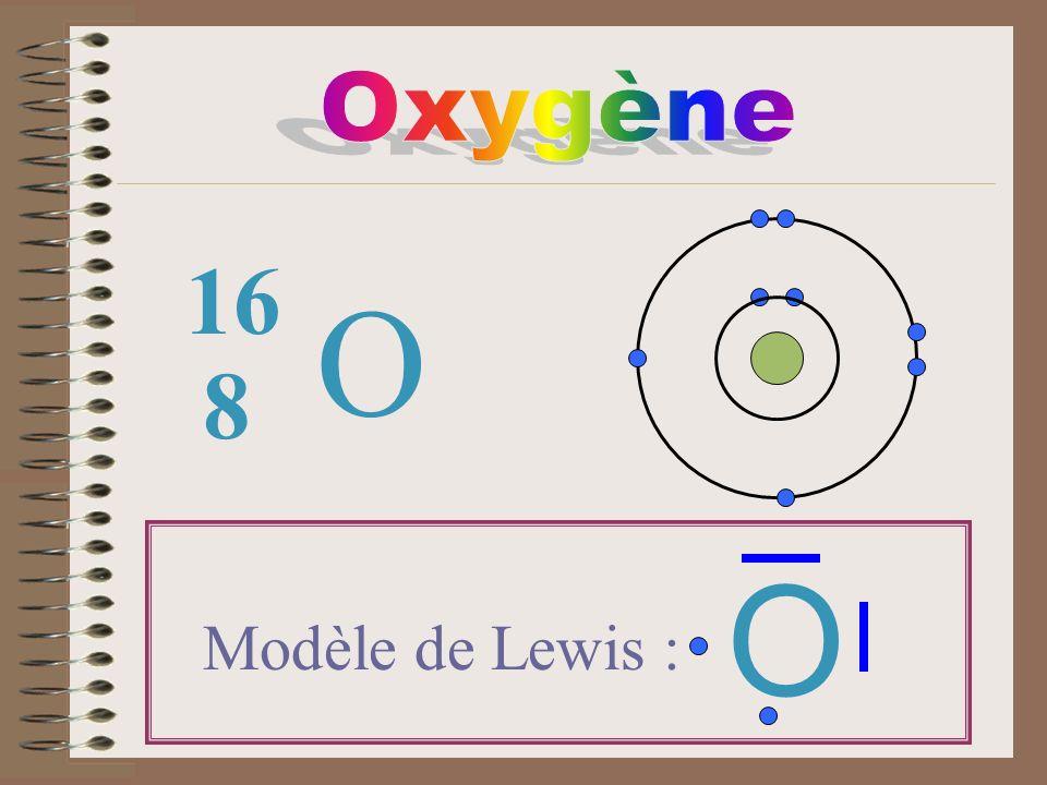 Oxygène 16 O 8 O Modèle de Lewis :