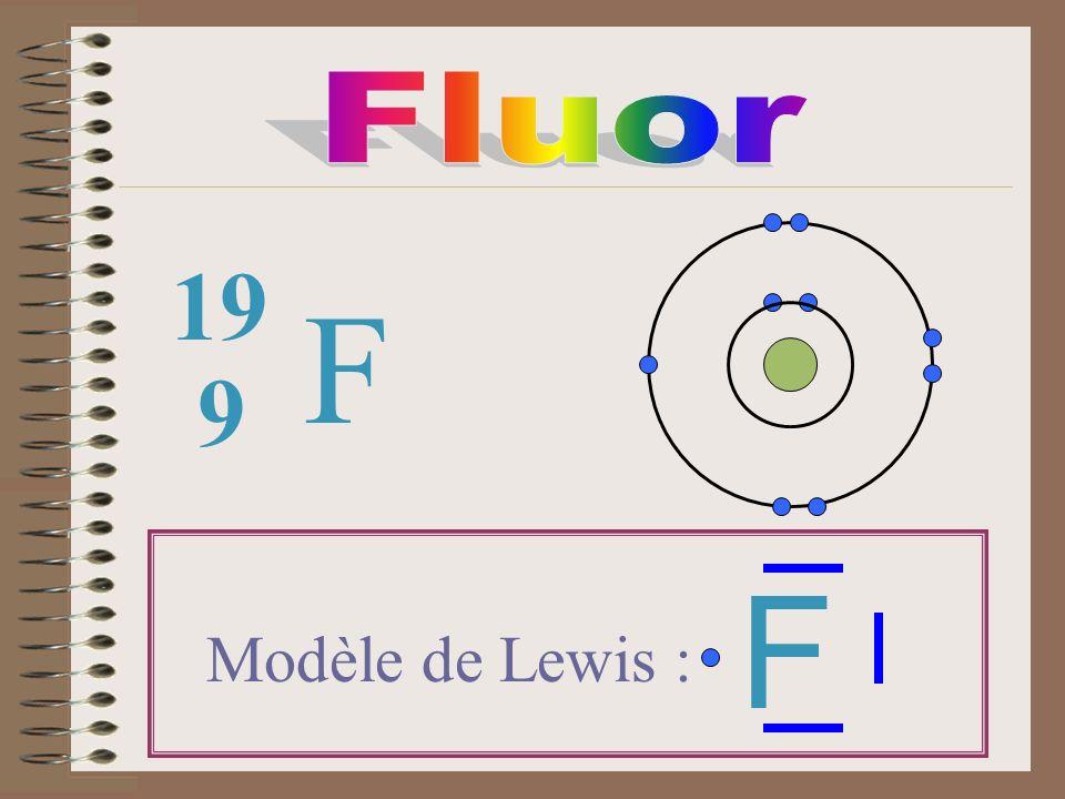 Fluor 19 F 9 F Modèle de Lewis :