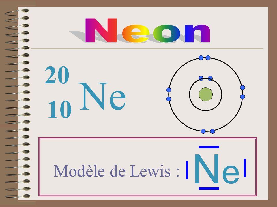 Neon 20 Ne 10 Ne Modèle de Lewis :