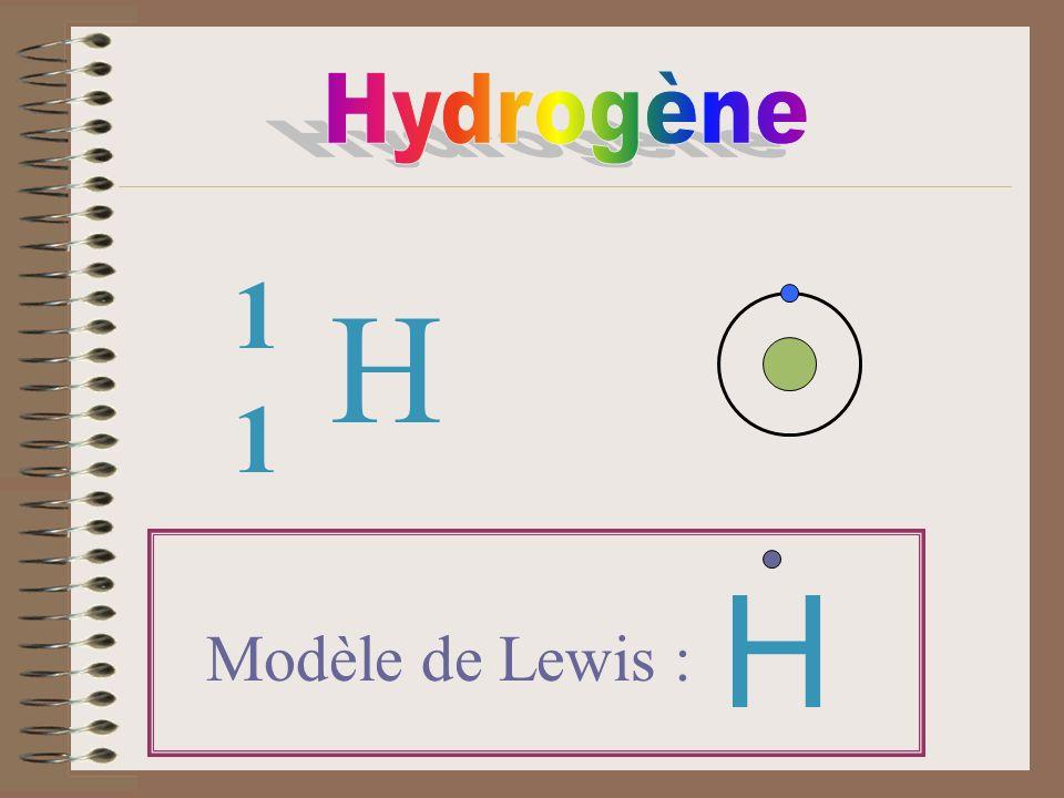 Hydrogène 1 H 1 H Modèle de Lewis :