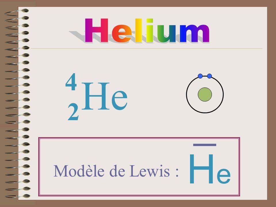 Helium 4 He 2 He Modèle de Lewis :