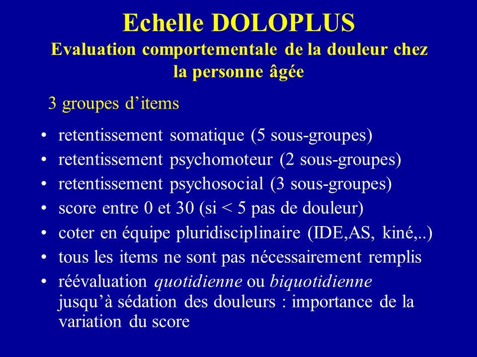 Echelle DOLOPLUS Evaluation comportementale de la douleur chez la personne âgée