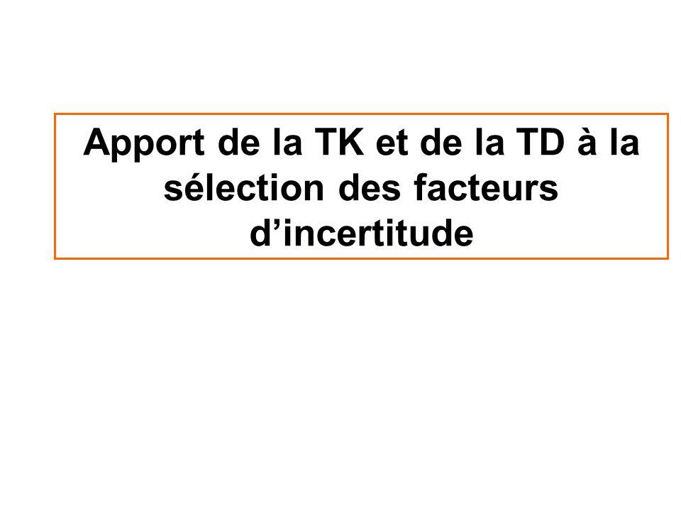 Apport de la TK et de la TD à la sélection des facteurs d'incertitude