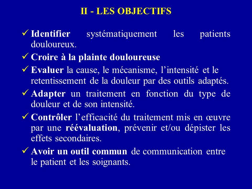 II - LES OBJECTIFS Identifier systématiquement les patients douloureux. Croire à la plainte douloureuse.