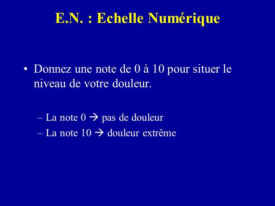 E.N. : Echelle Numérique Donnez une note de 0 à 10 pour situer le niveau de votre douleur. La note 0  pas de douleur.