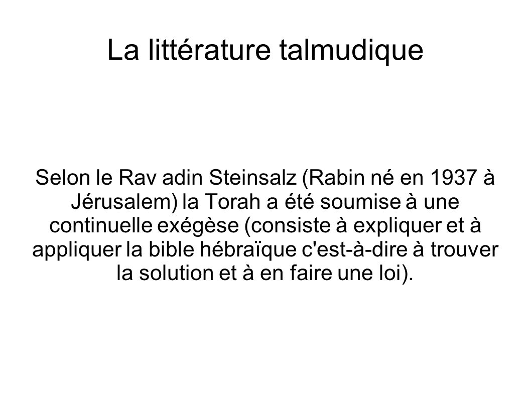 La littérature talmudique