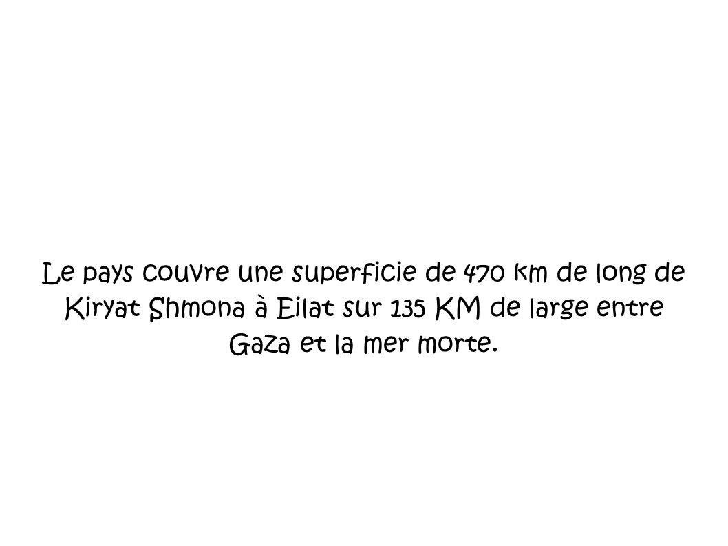 Le pays couvre une superficie de 470 km de long de Kiryat Shmona à Eilat sur 135 KM de large entre Gaza et la mer morte.