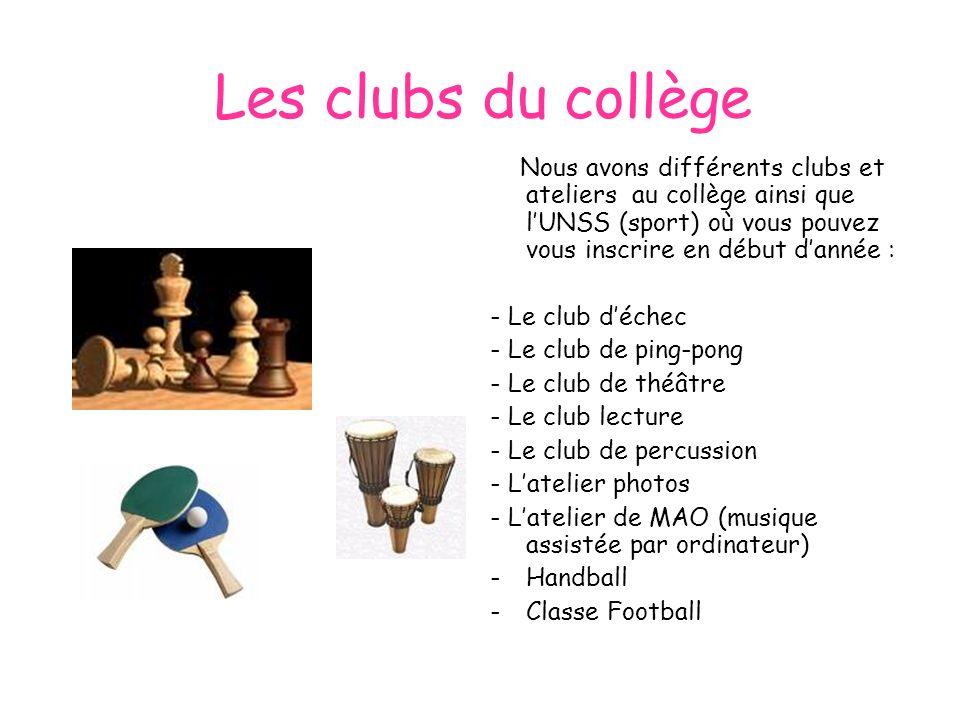 Les clubs du collège Nous avons différents clubs et ateliers au collège ainsi que l'UNSS (sport) où vous pouvez vous inscrire en début d'année :