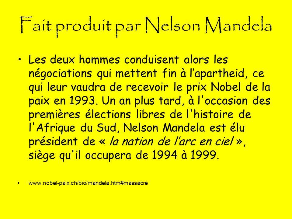 Fait produit par Nelson Mandela