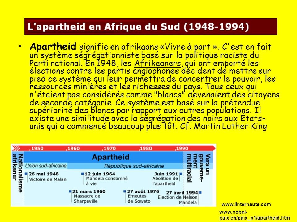 Apartheid signifie en afrikaans «Vivre à part »