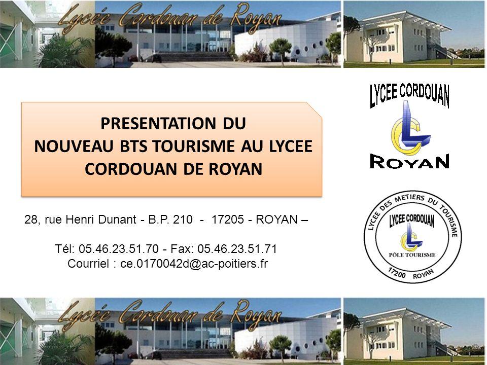 NOUVEAU BTS TOURISME AU LYCEE CORDOUAN DE ROYAN