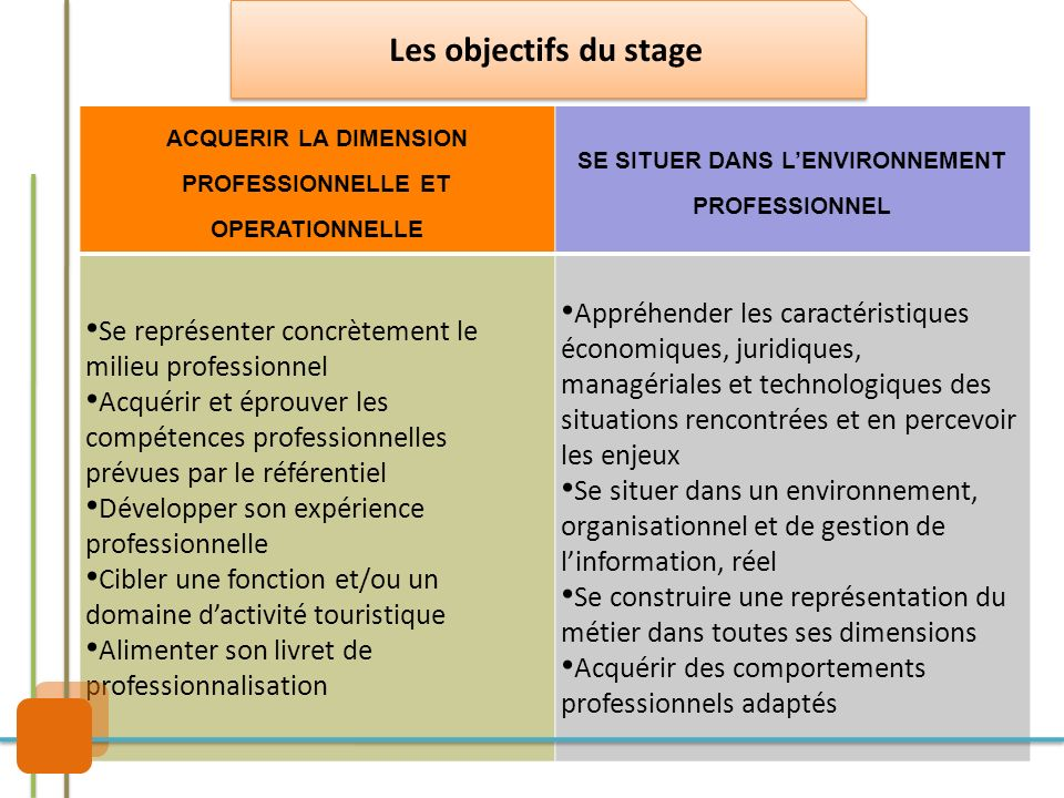 Les objectifs du stage ACQUERIR LA DIMENSION PROFESSIONNELLE ET OPERATIONNELLE. SE SITUER DANS L'ENVIRONNEMENT PROFESSIONNEL.