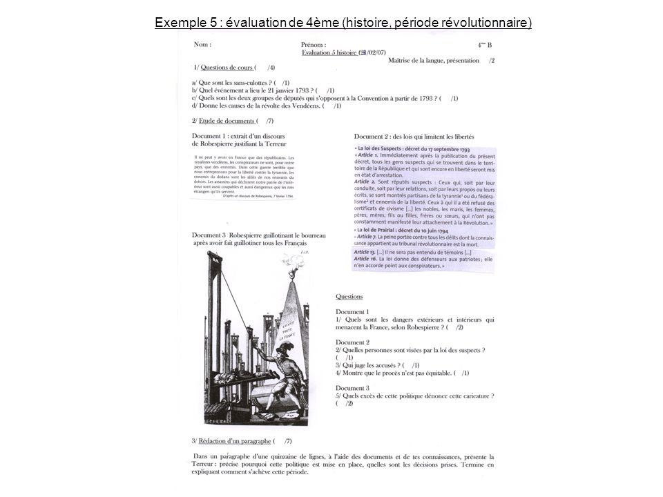 Exemple 5 : évaluation de 4ème (histoire, période révolutionnaire)