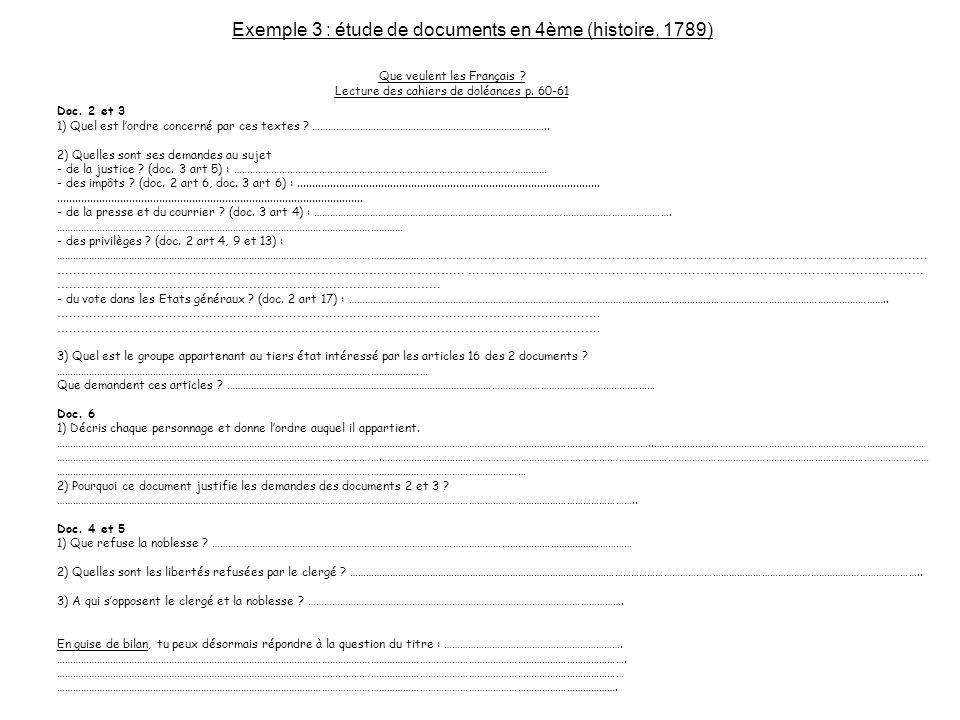 Exemple 3 : étude de documents en 4ème (histoire, 1789)