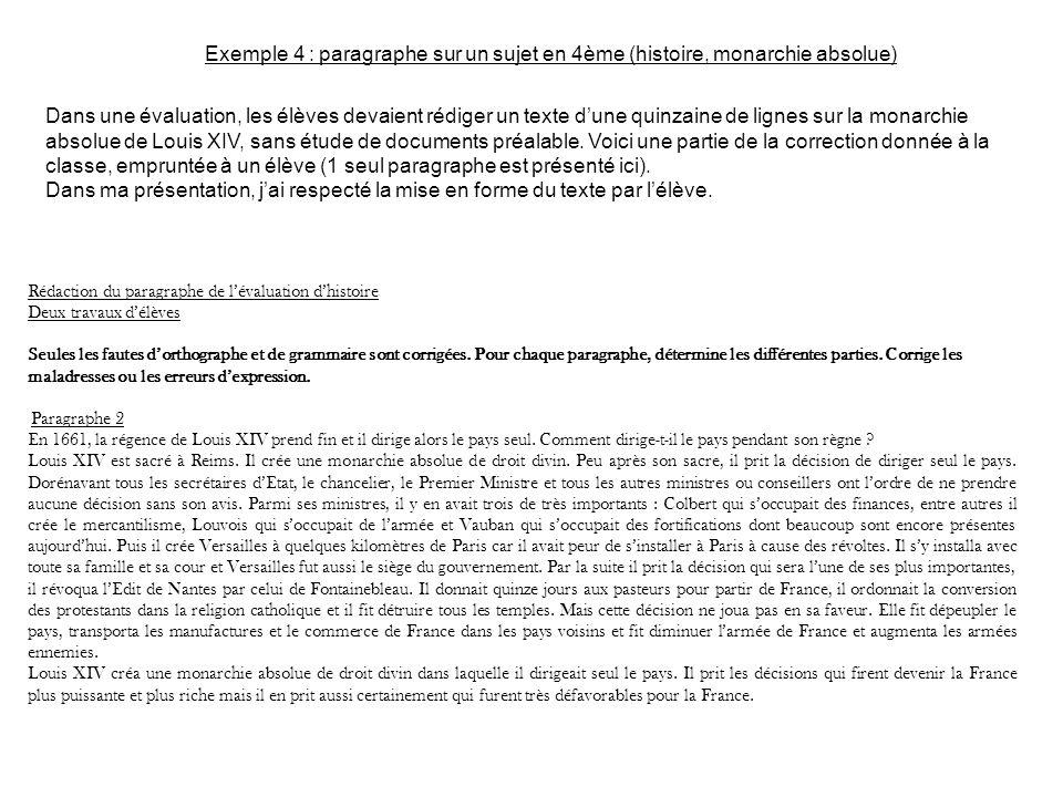 Exemple 4 : paragraphe sur un sujet en 4ème (histoire, monarchie absolue)