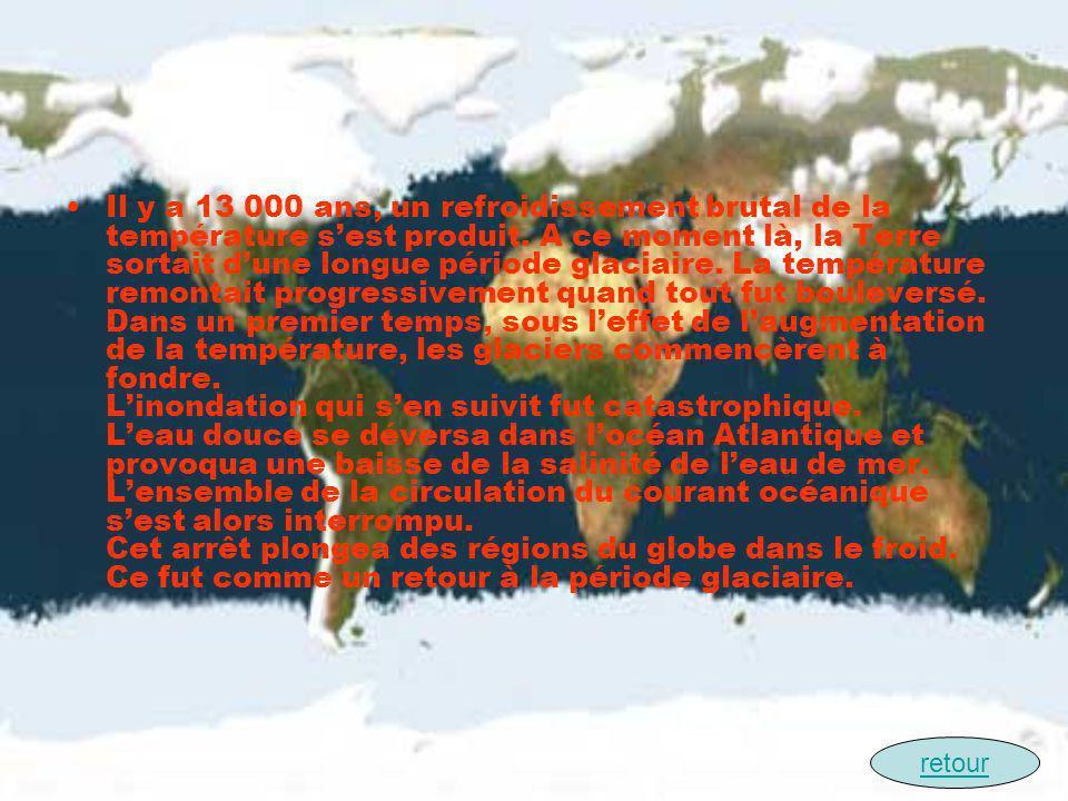 Il y a 13 000 ans, un refroidissement brutal de la température s'est produit. A ce moment là, la Terre sortait d'une longue période glaciaire. La température remontait progressivement quand tout fut bouleversé. Dans un premier temps, sous l'effet de l'augmentation de la température, les glaciers commencèrent à fondre. L'inondation qui s'en suivit fut catastrophique. L'eau douce se déversa dans l'océan Atlantique et provoqua une baisse de la salinité de l'eau de mer. L'ensemble de la circulation du courant océanique s'est alors interrompu. Cet arrêt plongea des régions du globe dans le froid. Ce fut comme un retour à la période glaciaire.