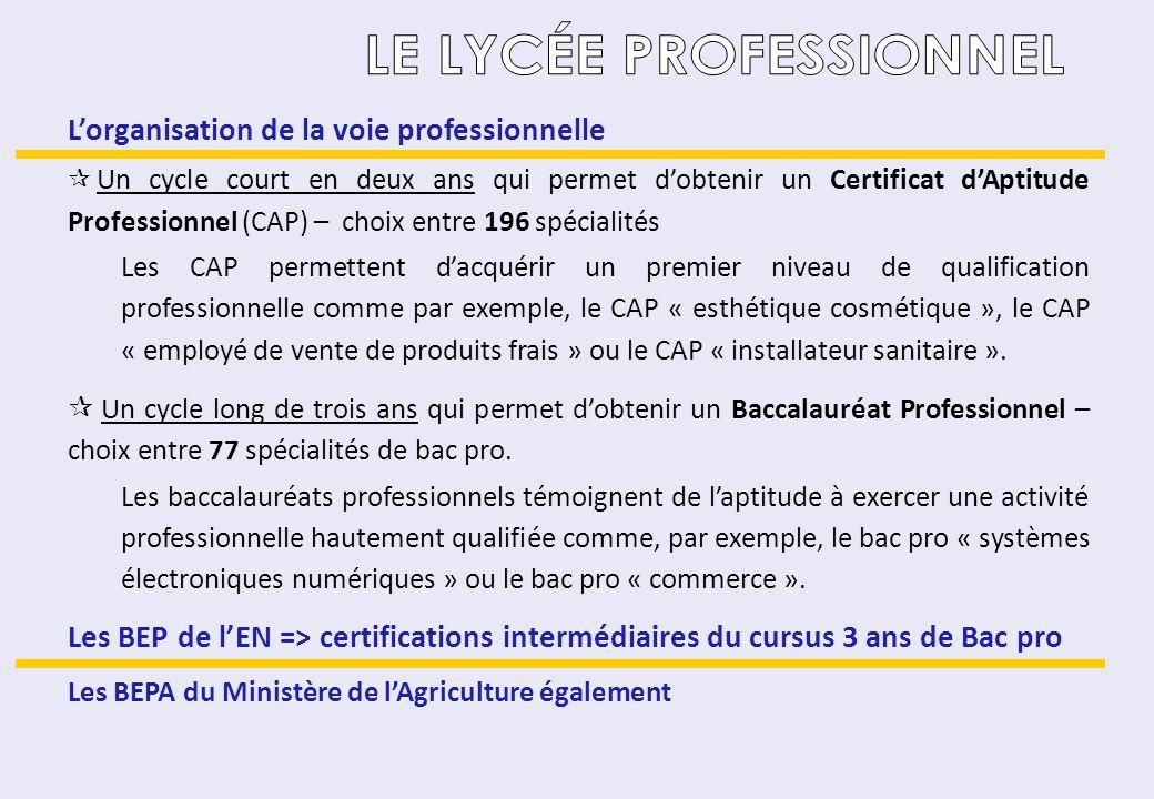 LE LYCÉE PROFESSIONNEL