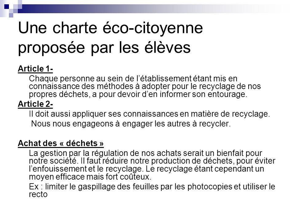 Une charte éco-citoyenne proposée par les élèves