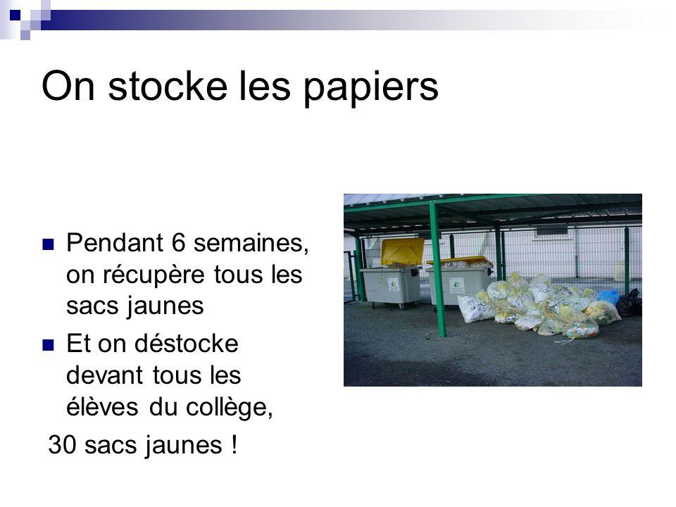 On stocke les papiers Pendant 6 semaines, on récupère tous les sacs jaunes. Et on déstocke devant tous les élèves du collège,
