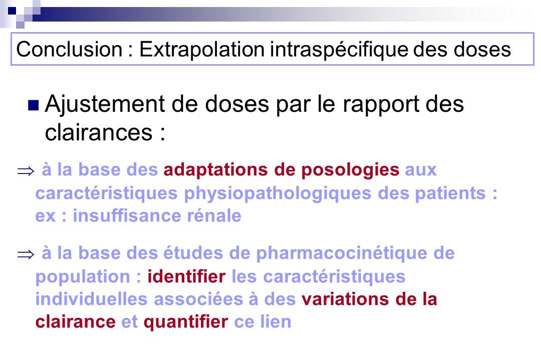 Conclusion : Extrapolation intraspécifique des doses