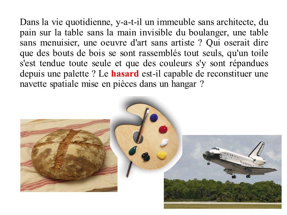 Dans la vie quotidienne, y-a-t-il un immeuble sans architecte, du pain sur la table sans la main invisible du boulanger, une table sans menuisier, une oeuvre d art sans artiste .