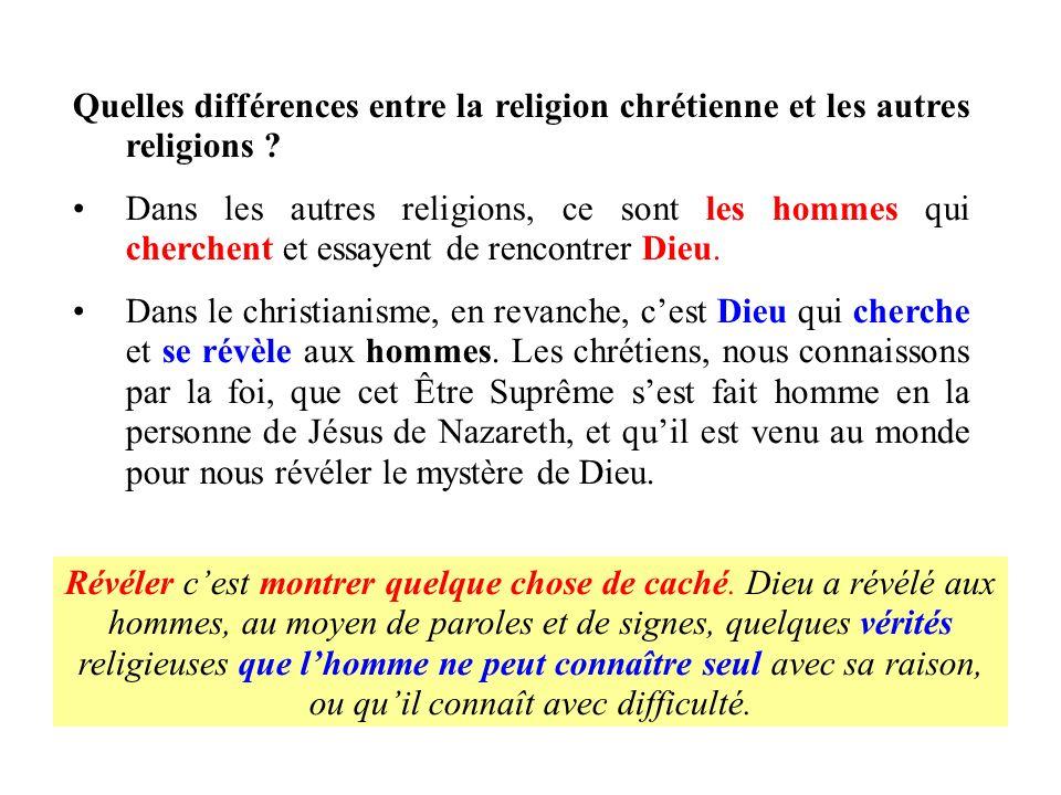 Quelles différences entre la religion chrétienne et les autres religions