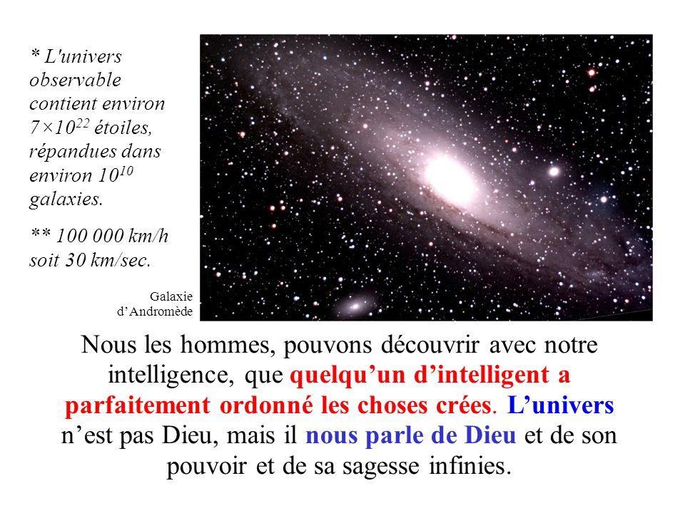 * L univers observable contient environ 7×1022 étoiles, répandues dans environ 1010 galaxies.