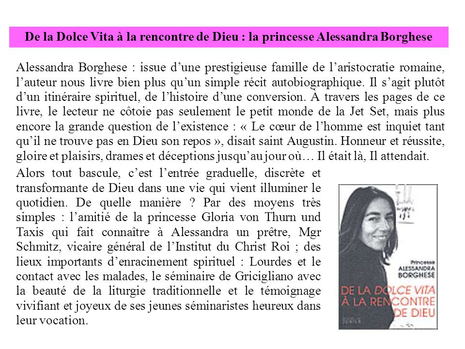 De la Dolce Vita à la rencontre de Dieu : la princesse Alessandra Borghese