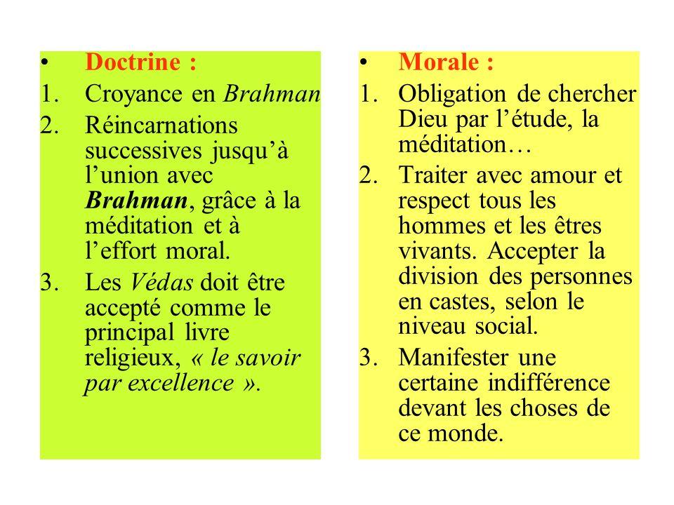 Doctrine : Croyance en Brahman. Réincarnations successives jusqu'à l'union avec Brahman, grâce à la méditation et à l'effort moral.