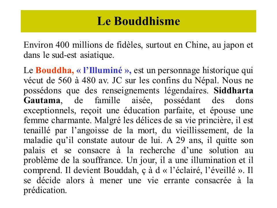 Le Bouddhisme Environ 400 millions de fidèles, surtout en Chine, au japon et dans le sud-est asiatique.
