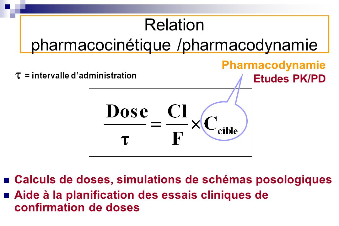 Relation pharmacocinétique /pharmacodynamie