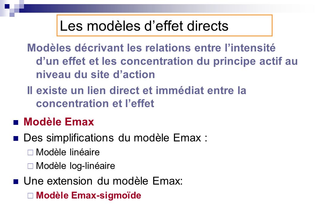 Les modèles d'effet directs