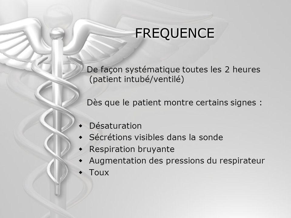FREQUENCE De façon systématique toutes les 2 heures (patient intubé/ventilé) Dès que le patient montre certains signes :
