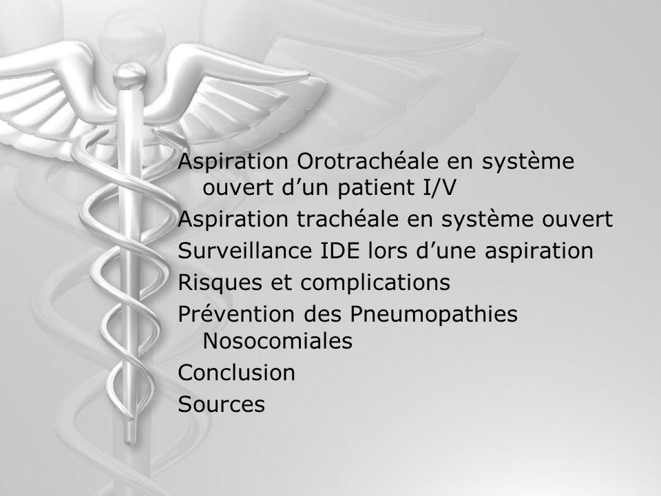 Aspiration Orotrachéale en système ouvert d'un patient I/V