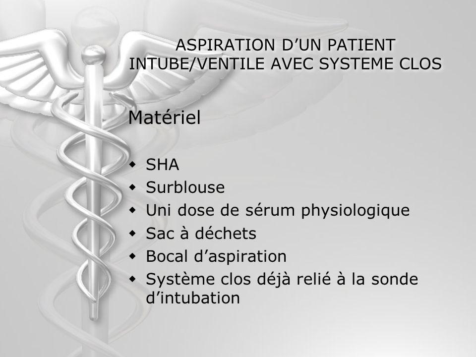 ASPIRATION D'UN PATIENT INTUBE/VENTILE AVEC SYSTEME CLOS