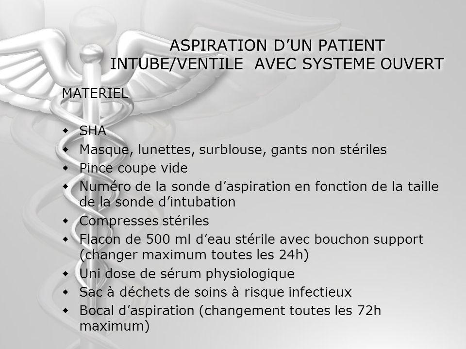 ASPIRATION D'UN PATIENT INTUBE/VENTILE AVEC SYSTEME OUVERT
