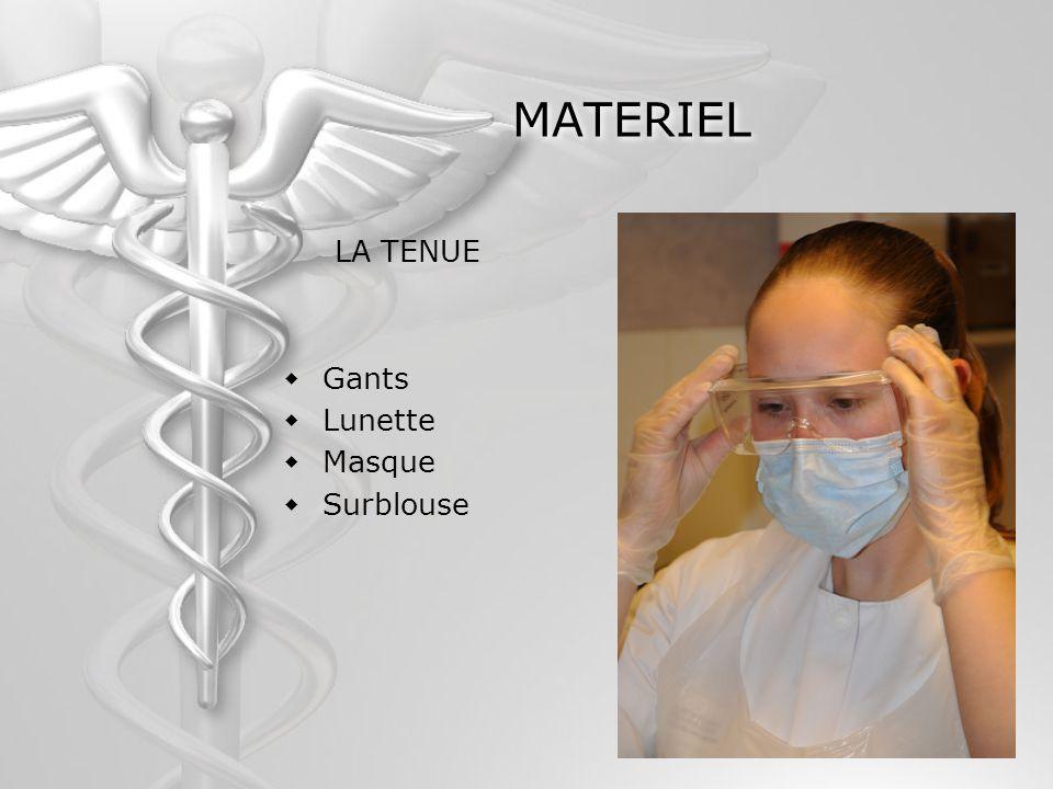 MATERIEL LA TENUE Gants Lunette Masque Surblouse