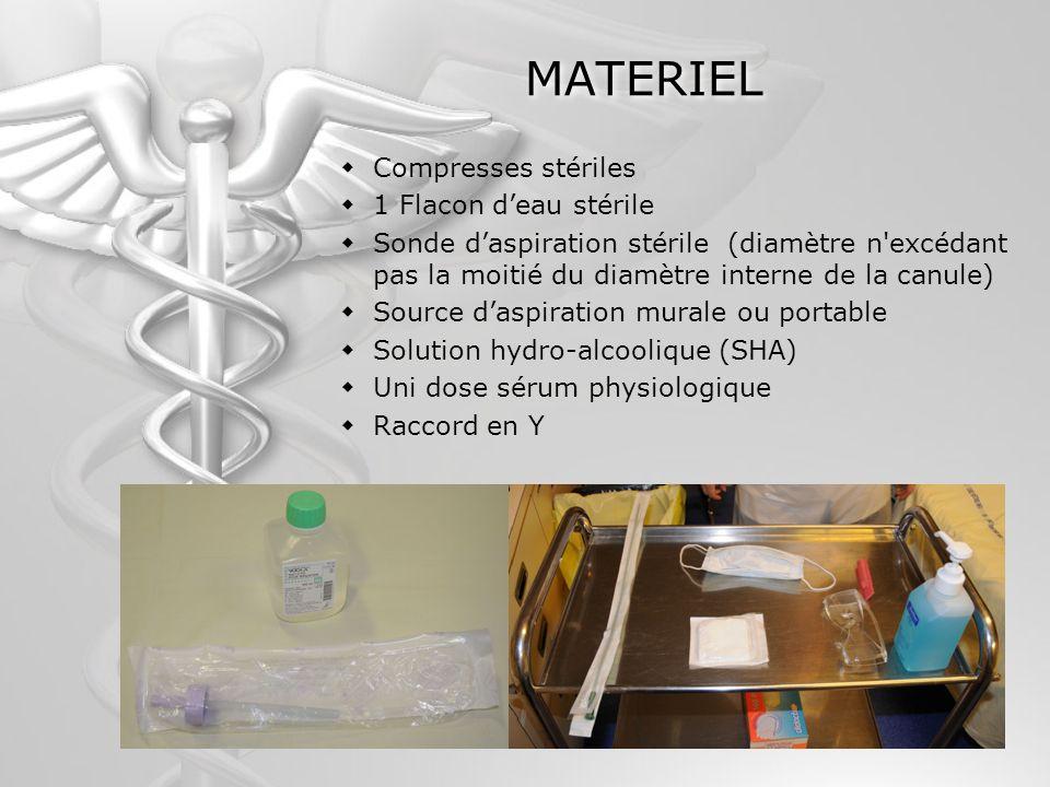 MATERIEL Compresses stériles 1 Flacon d'eau stérile