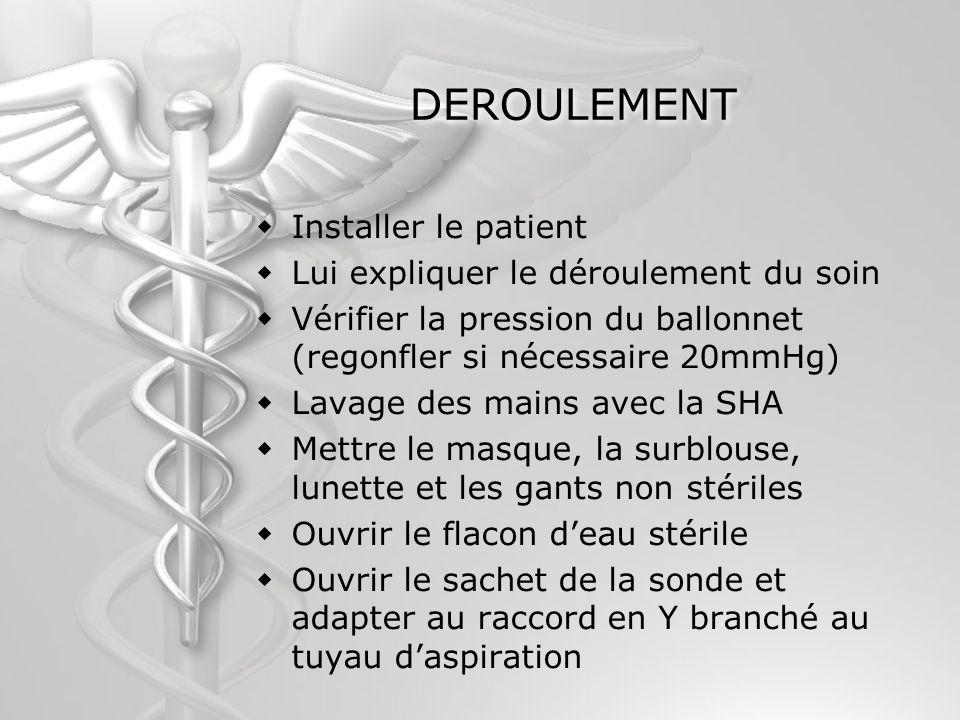 DEROULEMENT Installer le patient Lui expliquer le déroulement du soin
