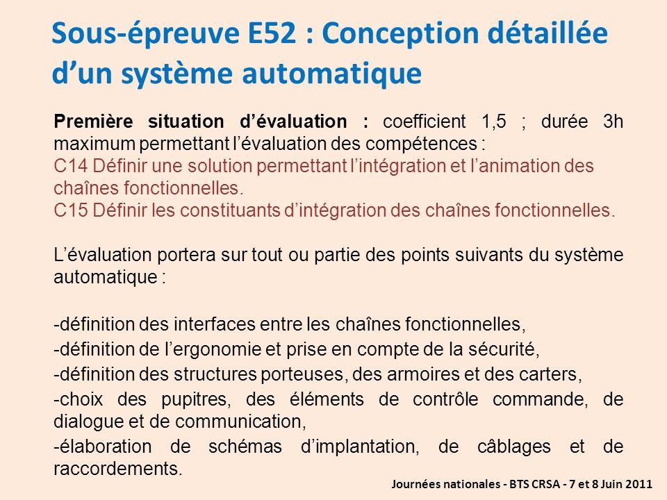 Sous-épreuve E52 : Conception détaillée d'un système automatique