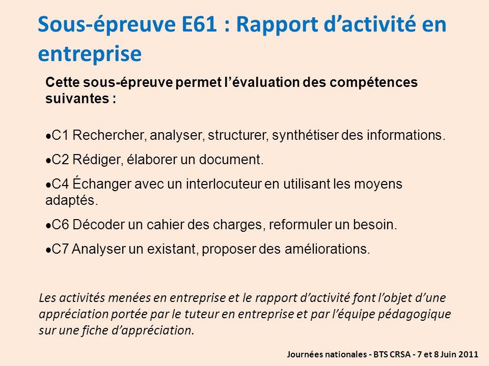 Sous-épreuve E61 : Rapport d'activité en entreprise
