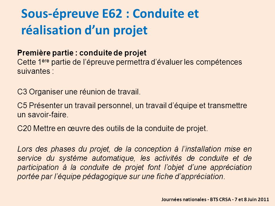 Sous-épreuve E62 : Conduite et réalisation d'un projet