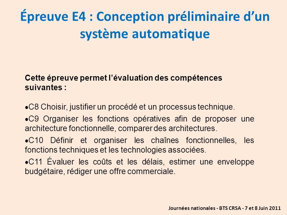 Épreuve E4 : Conception préliminaire d'un système automatique