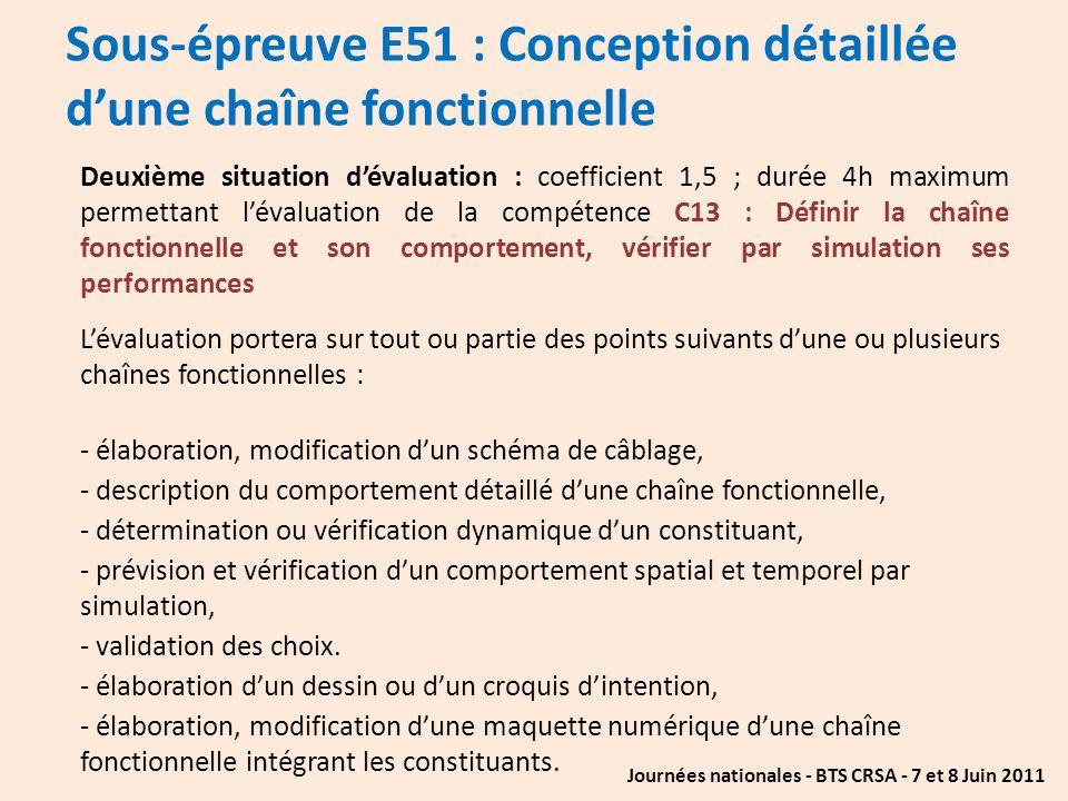 Sous-épreuve E51 : Conception détaillée d'une chaîne fonctionnelle