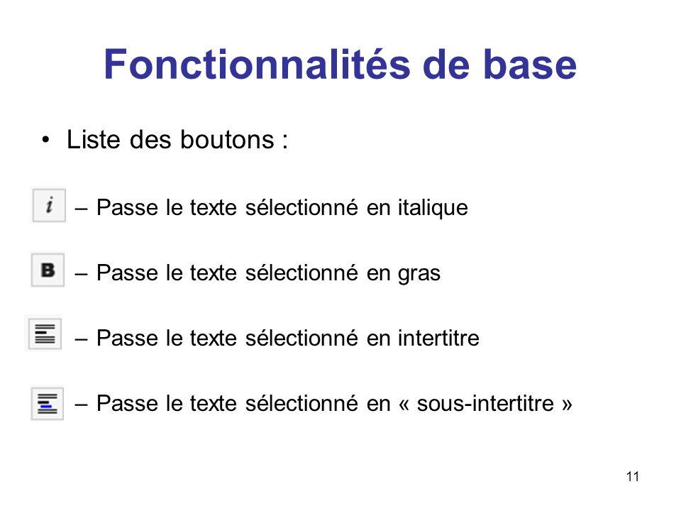 Fonctionnalités de base